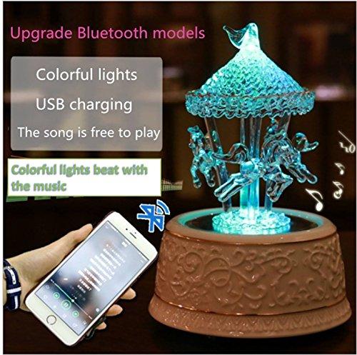 Fytoo Karussell Musik Box, Leuchtende Kristallglas-Spieluhr, Luxus Glas High-grade Karussell Spieluhr Bunte Licht Liebe Geschenk für Heimtextilien Handwerk Weihnachten oder geburtstagsgeschenk (Bluetooth)