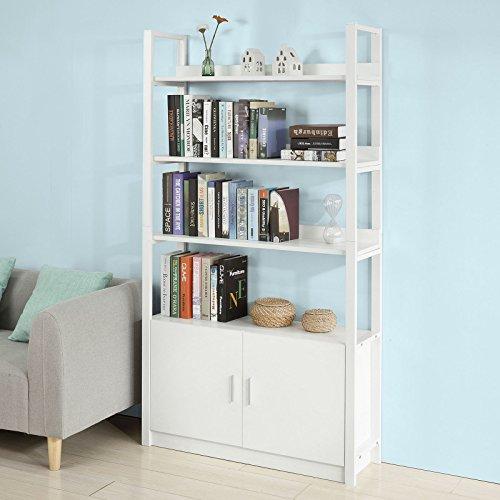 SoBuy Scaffale a scala,Libreria,con due ante e tre ripiani,bianco ...