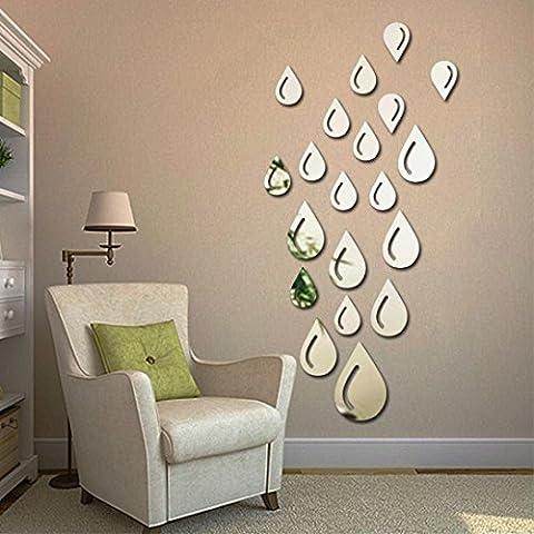 Huihong 20St Wassertropfen Wandaufkleber Spiegel Wandbild für Haus Dekoration Silber