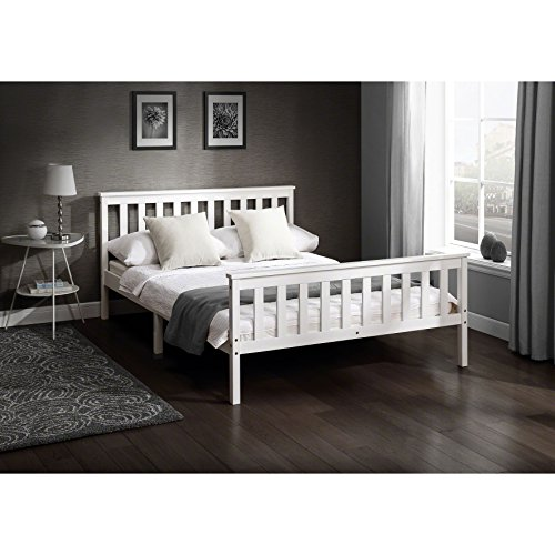 Laura James Tillbury 4'6 Double Wooden Bed WHITE Frame Solid Nordic Wood