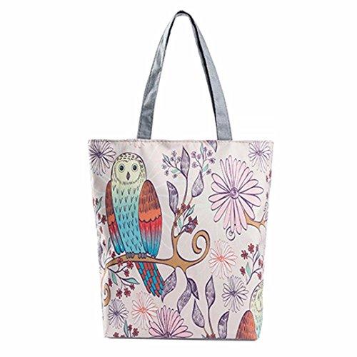 (Saingace Eule druckte Segeltuch-Beutel-beiläufige Strand-Beutel-Frauen-Einkaufstasche-Handtaschen (E))