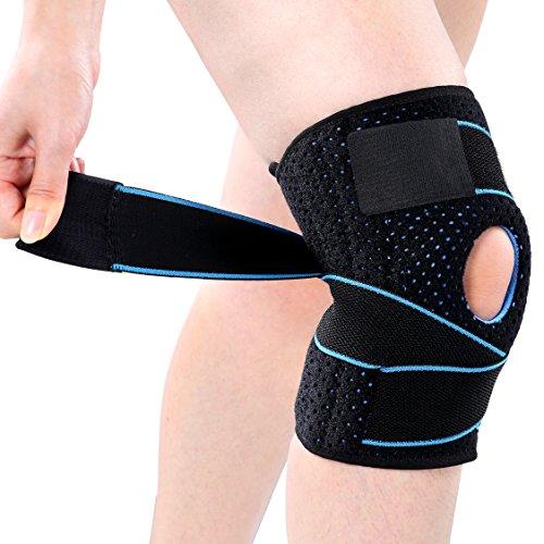 Kniebandage, Knieschützer Atmungsaktiv Kniestütze Kompression Knieschutz Einstellbare Knieorthese für Sport, Schmerzlinderung von Kniescheibe und Rehabilitation (Blau)