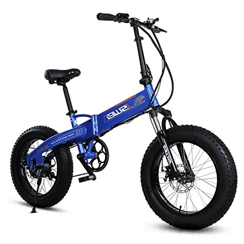 7 SPEED  350 W  36 V/10 4AH LI ION BATTERY  20 INCH FOLDING ELECTRIC BIKE  ELECTRIC BICYCLE  4 0 FAT BIKE  MTB BIKE  SNOW BIKE  EBIKE  AZUL