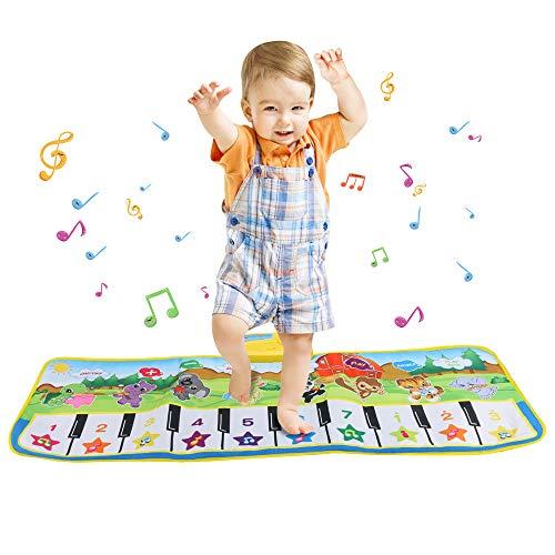 Welltop Piano Mat, 10 Keyboard Musik Matte Tanzmatten Klaviermatte Musikmatte Kinder 8 Tierstimmen Klaviertastatur Matte , Keyboard Matten Spielteppich Baby Tanzmatte für Jungen Mädchen (100 * 36cm)