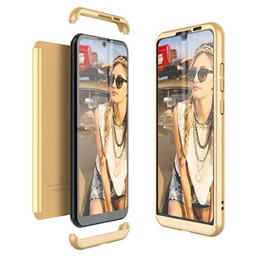 Winhoo Kompatibel mit Huawei Honor Play 8A Hülle Hardcase 3 in 1 Handyhülle 360 Grad Schutz Ultra Dünn Slim Hard Full Body Case Cover Backcover Schutzhülle Bumper - Gold