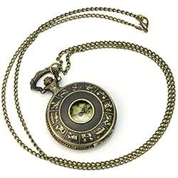 New Retro Antique Bronze Steampunk map Quartz Necklace Pendant Chain Pocket Watch