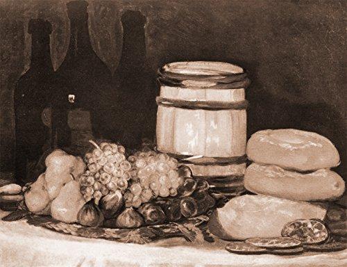 Vlies Fototapete Francisco de Goya - Alte Meister - Stillleben mit Früchten, Flaschen, Broten - sephia - Sepia - 130x100 cm - mit Kleister - Poster - Foto auf Tapete - Wandbild - Vliestapete -