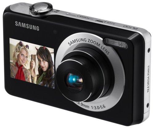 Samsung PL100 Digitalkamera (12.2 Megapixel, 3-fach optischer Zoom, Duales Display (6,85 cm Hauptdisplay/ 3,81 cm Frontdisplay ), Duale Bildstabilisierung) schwarz