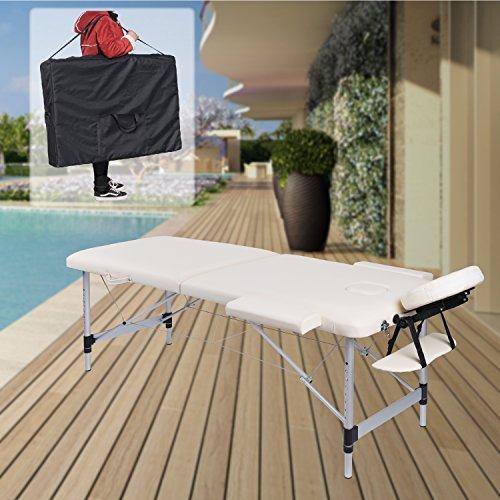 Pawstory mobile alluminio lettino da massaggio massaggio tavolo -- massaggio bank regolabile in altezza pieghevole 2zone con alta qualità salon poggiatesta regolabili + corrimano + 600d tasche, nero, bianco, blu., colore bianco