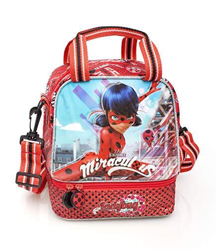 Ladybug miraculous borsa borsina termica portamerenda cestino portapranzo mis.19x19x15 - con manici e tracolla removibile
