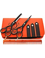 """Ciseaux de coiffure - Ciseaux Barber Salon - Ciseaux - Ciseaux de coupe de cheveu - 5.5"""" Fix Noir Vis profonde Couper les cheveux Ciseaux - Ciseaux Coupe Effiler Désépaissir"""
