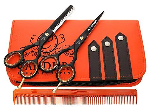 CANDURE® – Set de tijeras de peluquería profesional – Deep Negro