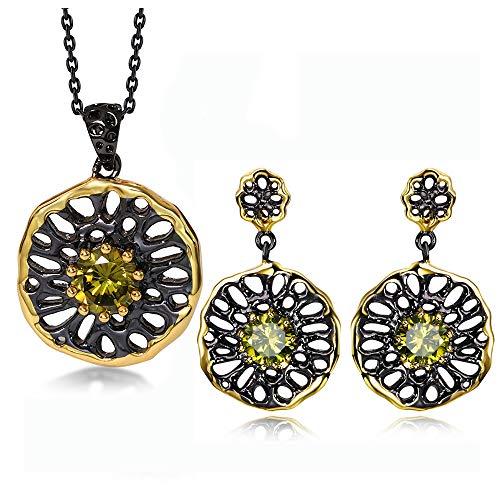 LILIMO Schmuck-Sets Gotische Pendant Halskette Ohrringe Für Frauen Schwarze Pistole Farbe Olivine CZ Kostüme Juwelen Dangle Hohl Aus,Suit