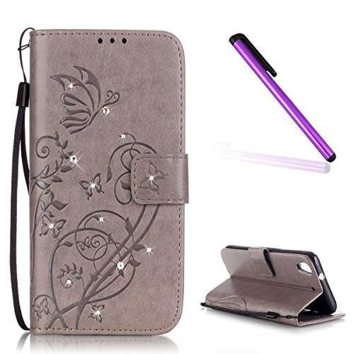 EMAXELERS HTC Desire 626 Bling Diamante Cristal Blume Schmetterling PU Leder Bookstyle Handyhülle für HTC Desire 626,Gray Butterfly with Diamond
