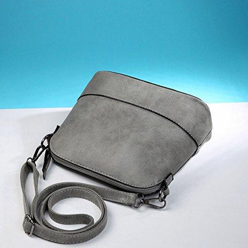 Weibliche Retro messenger Weibliche schultertasche Scrub shell-paket mini-tasche Dunkelgrau