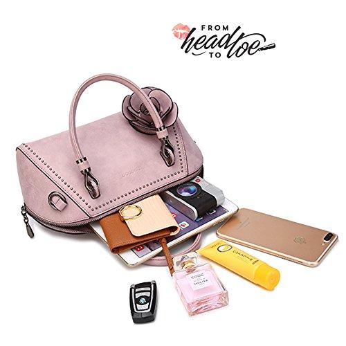 Borse Retro Yoome per Donne Handbags Top Handle Borsa Satchel Elegante Pendente Fiore Large - Rosa Rosa