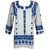 Boho Chic Women's Tunic White Kurti Chikan Navy Blue Embroidered FestiveTop Blouse Shirt