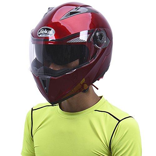 Hjuns Motorradhelm Integralhelme mit Visier - für Offroad/Enduro/Touring Sport (L, Red) - 6