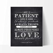 Lettre aux Corinthiens 13; 4–8Citation Amour est Patient Tableau Noir Panneau, cadeau idéal pour mariage ou anniversaire