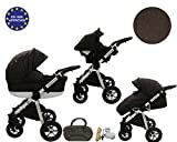 QUERO Lin Matériau - Landau pour bébé + Siège Auto - Poussette - Système 3en1 + Accessoires (Système 3en1, Lin Matériau N ° 7)