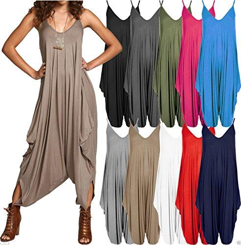 Papaval Women Ladies V-Neck Summer Beach Harem Plain Jumpsuit Playsuit Top Dress