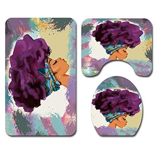 Hhartlife Duschvorhang Vier Sets Duschvorhang quadratisch Pad U-Form Pad WC Sitz 12 Haken Wasserdicht Anti-Rutsch-Schimmel Badezimmer Brasilianische Schönheit Three-Piece Suit (Wc-sitz Mit Schienen)