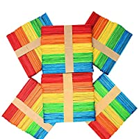 Kids B Crafty 300 Wooden Coloured Lollipop Sticks Crafts 114mm X 10mm X 2mm Popsicle Multicoloured - Bright Coloured - Primary School Supplies - Garden Plant Identifier - Model Making