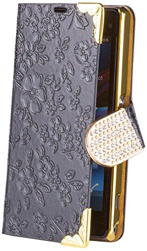 iCues Sony Xperia Z1 Compact Chrom Blume Buch - Schwarz - Exklusives Design mit eingelassenen Strass Steinen + Displayschutz