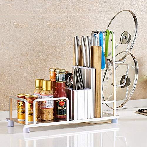 ZHJYD Goldaktivitätshaken/atmungsaktive Essstäbchen/Messereinsatz/trapezförmiger Deckel/Schneidebrettständer/Gewürzbereich Küchenbodenständer Größe: 45 * 18 * 40 cm (Color : Silver)