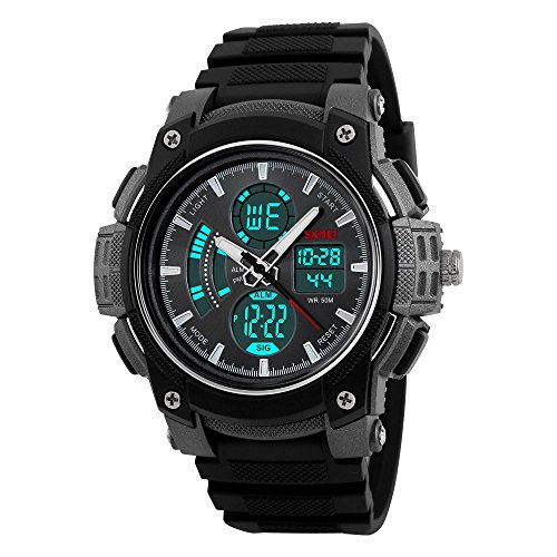 farsler Herren Multifunctional 50 m Wasserdicht Dual Time Display Outdoor Sports Schwimmen Tauchen Digital Armbanduhr (schwarz)