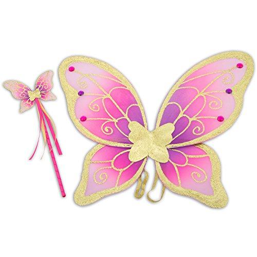 feenfluegel kinder Glitzer Elfen Flügel mit Zauberstab - Feen Kostüm Kinder - Pink und Gold - Lucy Locket