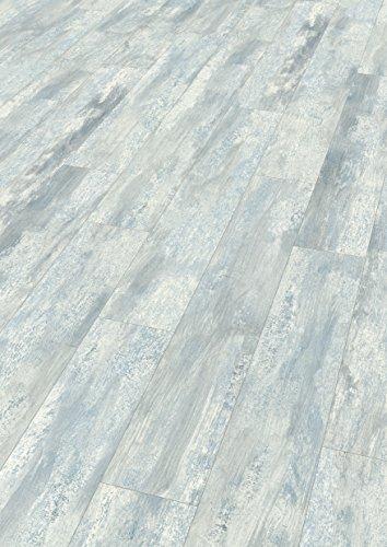 Blau Laminat (EGGER Home Designboden grau - Winsford Eiche blau EHD016 (5mm kompakt, 1,989 m²) Klick Design Laminat robust, strapazierfähig, pflegeleicht, wasserfest und PVC frei)