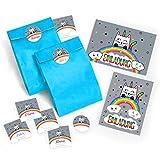 12 Einladungskarten zum Kindergeburtstag für Mädchen Katze-Einhorn incl. Umschläge, Tüten, Aufkleber / bunte Geburtstagseinladungen (12 Karten + 12 Umschläge + 12 Party-Tüten + 12 Aufkleber)