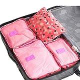 Dexinx Satz von 6 Reise Verdicken Kleidertaschen Verpackungswürfel Organizer Wasserdicht Wäschesack Gepäck Kompressionstaschen Tasche Rose