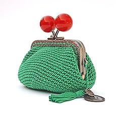 Monedero verde de boquilla con grandes y brillantes bolas rojas. Hecho a mano.
