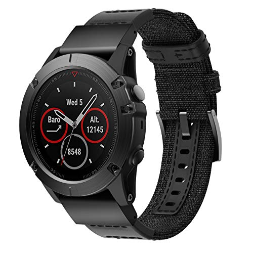 Tabcover for Garmin Fenix 5X Armband,Quick Release Canvas Genuine Leather Sport Replacement Armband for Garmin Fenix 5X/Fenix 5X Plus Smart Watch -