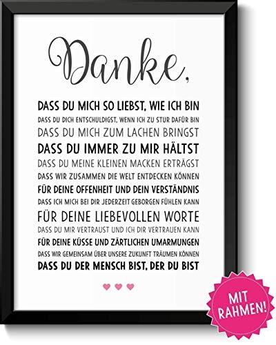 Danke Liebe Geschenke Bild mit Rahmen Geschenkidee zum Geburtstag Jahrestag Hochzeit Hochzeitstag Verlobung für Männer Frauen Freundin Freund Paar Pärchen Partner -