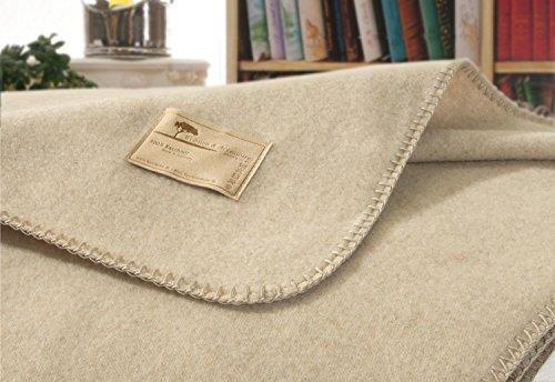 Kaschmirdecke, Wolldecke aus 100% Kaschmir Amalfi Creme-beige 150x220cm Kettstich