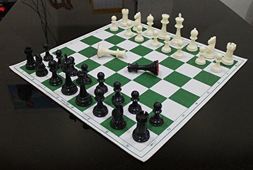 StonKraft - 43,2 x 43,2 cm' Turnier Schach Vinyl faltbares Schachspiel mit festen Plastikstücken (mit extra Königin) - ideal für professionelle Schachspieler (Set Chess Board)