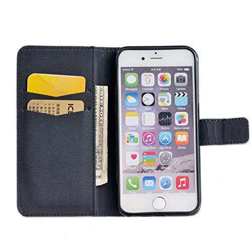 "Aeeque iPhone 6 Plus Bookstyle Étui Card Slot [Simple Series] Housse en Cuir Fermeture Magnétique Case à rabat pour iPhone 6 Plus / 6S Plus 5.5"" Coque de protection Portefeuille TPU Case - Pissenlit E Live Your Dream"