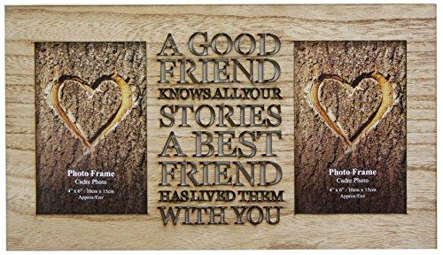 Rustikaler Bilderrahmen aus Holz mit Aufschrift, für zwei 10 x 15 cm große Fotos, Motiv: Friend (in englischer Sprache)