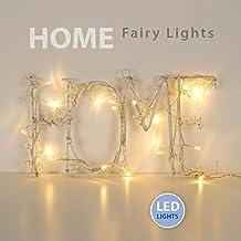 """Lampada moderna e bella operata a batteria con stuttura di metallo, 20 luci LED di colore bianco caldo, e nella forma della parola """"HOME"""" – sospesa da parete - Anello Operato"""