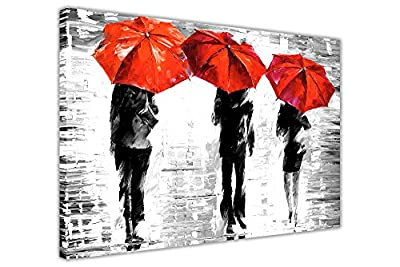 3 Umbrellas By Leonid Afremov Canvas Wall Art Prints Framed Pictures Black And White Abstract Posters Home Deco - inexpensive UK light shop.