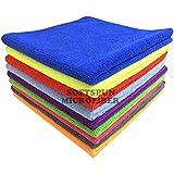 Softspun Microfiber Car Cleaning Cloth Set Of 5 For Detailing & Polishing 340 Gsm, 40 Cm X 40 Cm, Muticolor