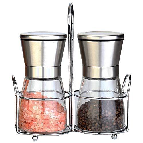 mreechan Gewürzmühle 2er Set,Salz und Pfeffer Mühle mit Keramikmahlwerk ,Salzmühle und Pfeffermühle aus Glas & Edelstahl ,Auch als Chilimühle- für verschiedene Gewürze einsetzbar