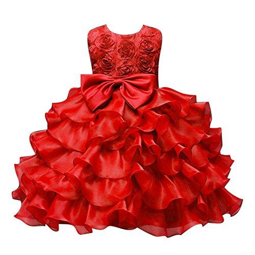 Blumen Mädchen Baby Festkleid Kinder Hochzeit Party TUTU Kleid Schleife 1-8 Jahre (Rote Herzen Prinzessin Kostüm Uk)