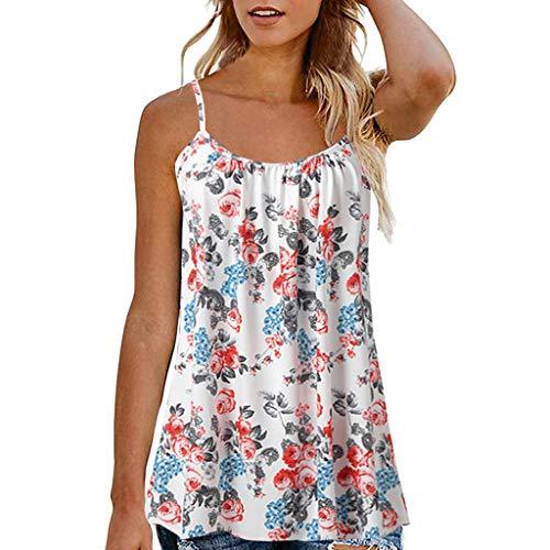 kolila Damen Boho Camisole Kleid Lose Plus Size Frauen Retro Blumendruck Ärmellos Tank Bluse Kleider Übergroßen EU52(Weiß,XL)