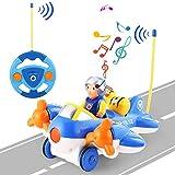OCDAY Voiture Télécommandée 2 Canaux RC Voiture de Avion Jouets avec Musique et Lumières Cadeau pour Bébés et Enfants (Avion)