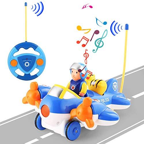 OCDAY Fernbedienung Auto Spielzeug Airplane-Shaped RC Cartoon Auto mit Lichter und Musik für Kleinkinder Kinder und Kinder