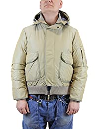 Kejo Sly Goose Down Jacket with Hood Silver, Blue and Beige (XXL, Beige)